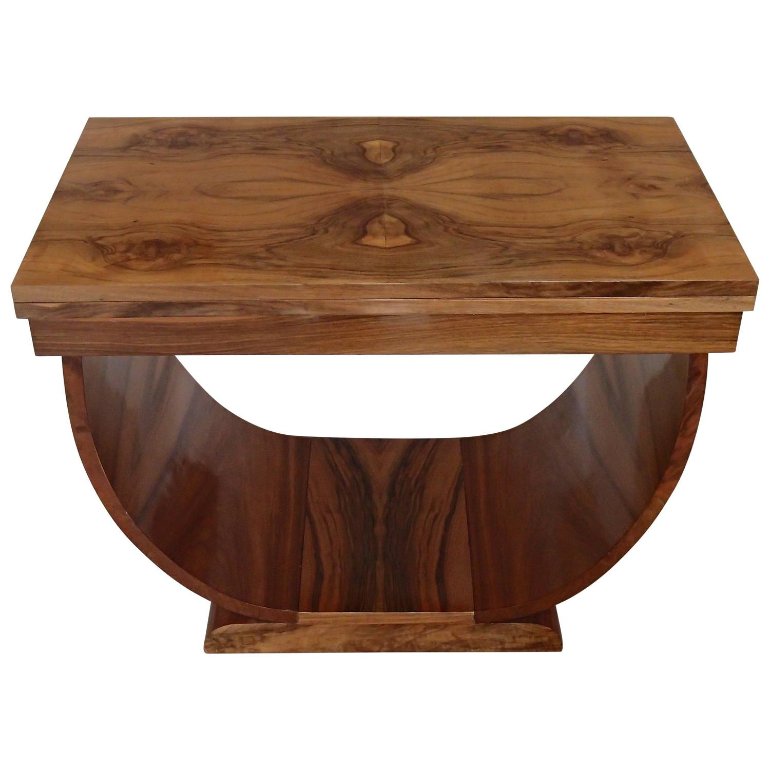 Art Déco Console Side Table Coffee Table Foldable Walnut