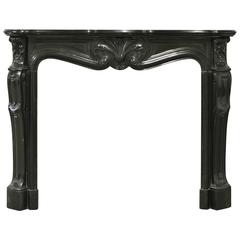 Black Marble Louis XV Fireplace Mantel, 19th Century