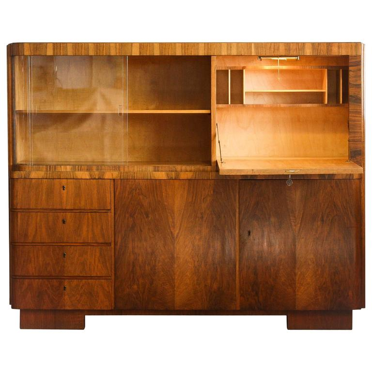 Art deco secretary or cabinet in burlwood 1920s 1930s for sale
