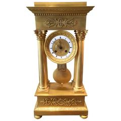"""Fine Empire Portico Bronze """"Ormolu"""" Clock"""