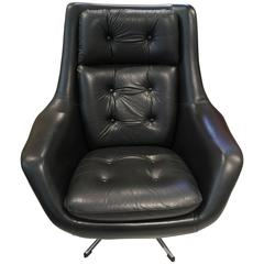 Henry Walter Klein Black Leather Swivel Armchair by Bramin