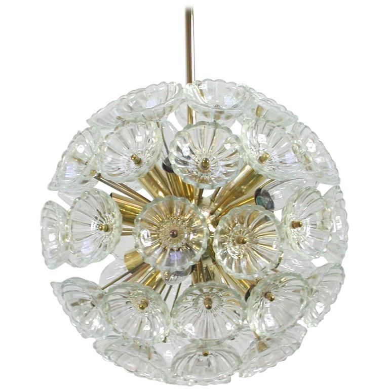 1960s German Sputnik Dandelion Twelve-Light Chandelier For Sale