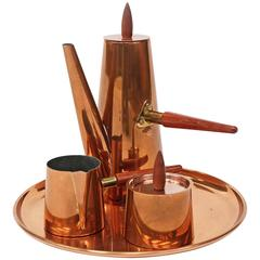 1960s Copper Coffee Set with Tray and Teak Handles Mid-Century Modernist