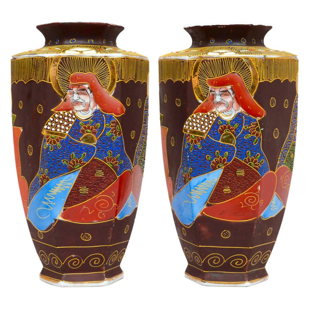 Pair of japanese satsuma hexagonal vases for sale at 1stdibs reviewsmspy