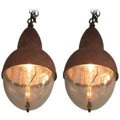 Pair of French Copper and Holophane Glass Pendant Lights