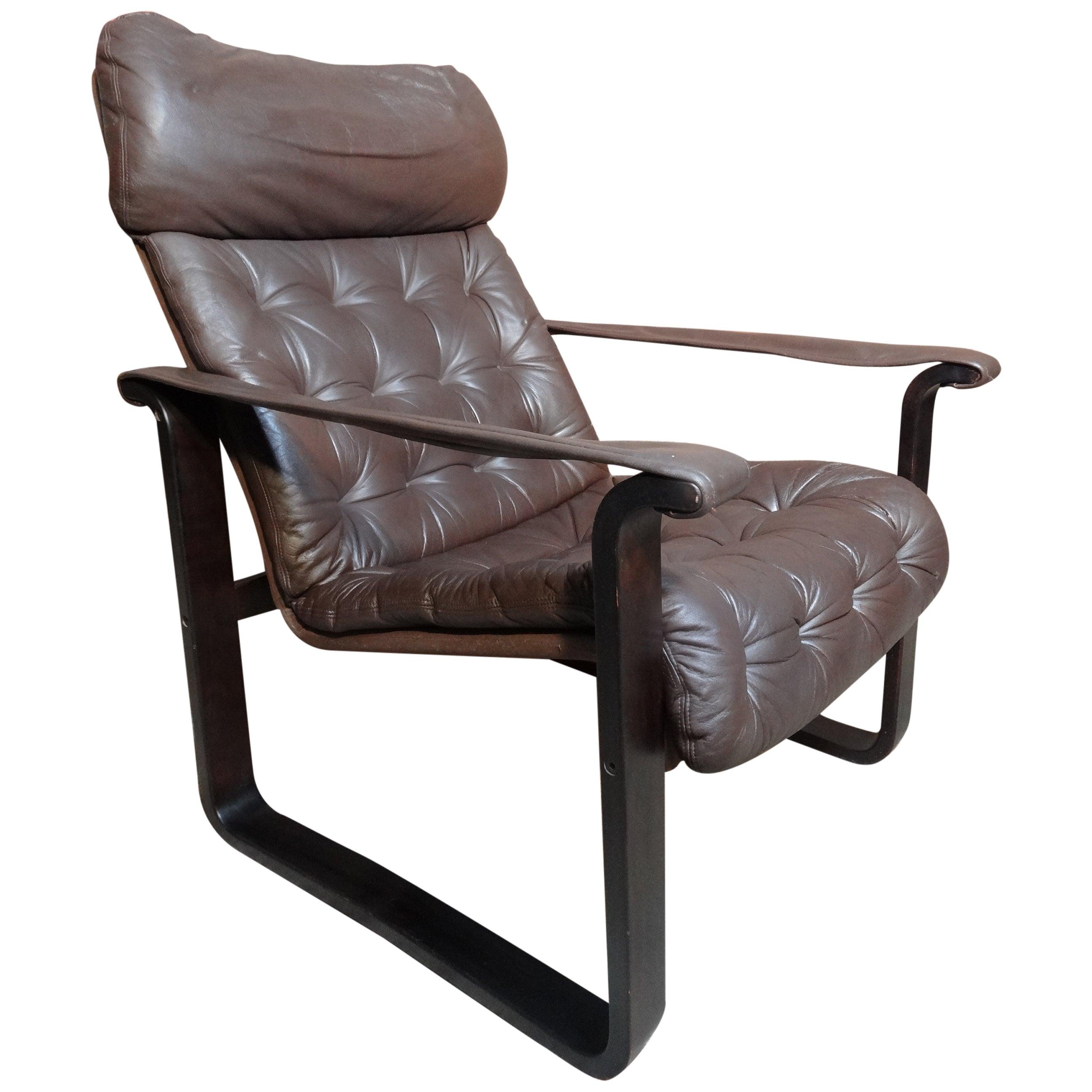 Finisch Dahlqvist A.B. Brown Leather Vintage Retro Lounge or Armchair