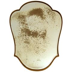 Italian Beaded Brass Mirror 1950's with Distressed Mirror Glass