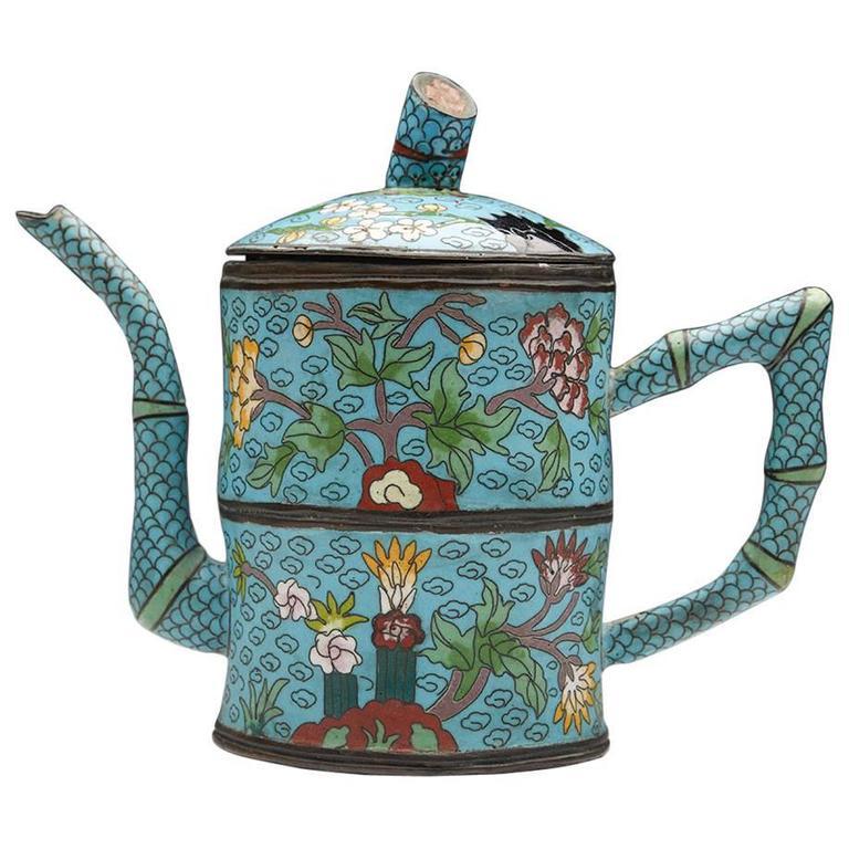 Antique Chinese Cloisonné Teapot, 19th-20th Century
