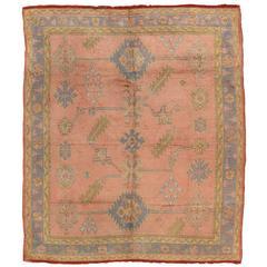 Antique Oushak Rug, Turkish Rugs, Handmade Oriental Rugs, Pink Rug