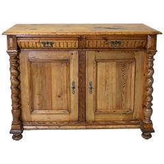 19th Century Danish Sideboard or Buffet in Pine with Rope-Turned Columns