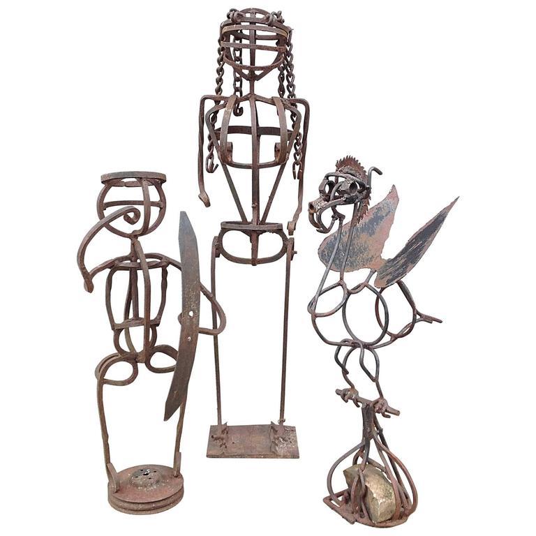 Trio of Brutalist Iron Figural Sculptures