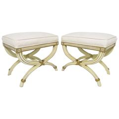Pair of Hollywood Regency Style X-Base Stools by Karges Furniture
