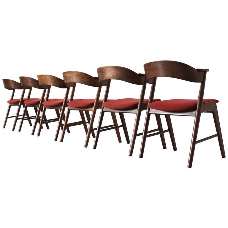 Kai Kristiansen Set of Six Rosewood Dining Chairs