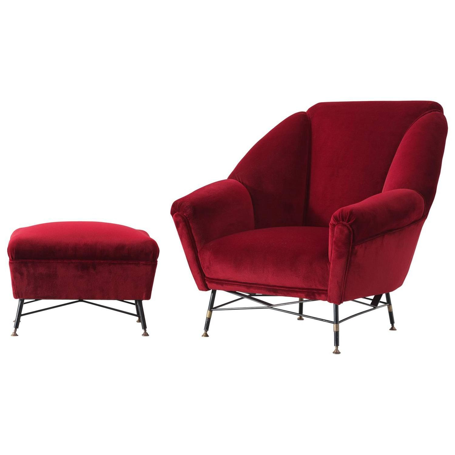 Italian Red Velvet Lounge Chair with Ac panying Ottoman For Sale