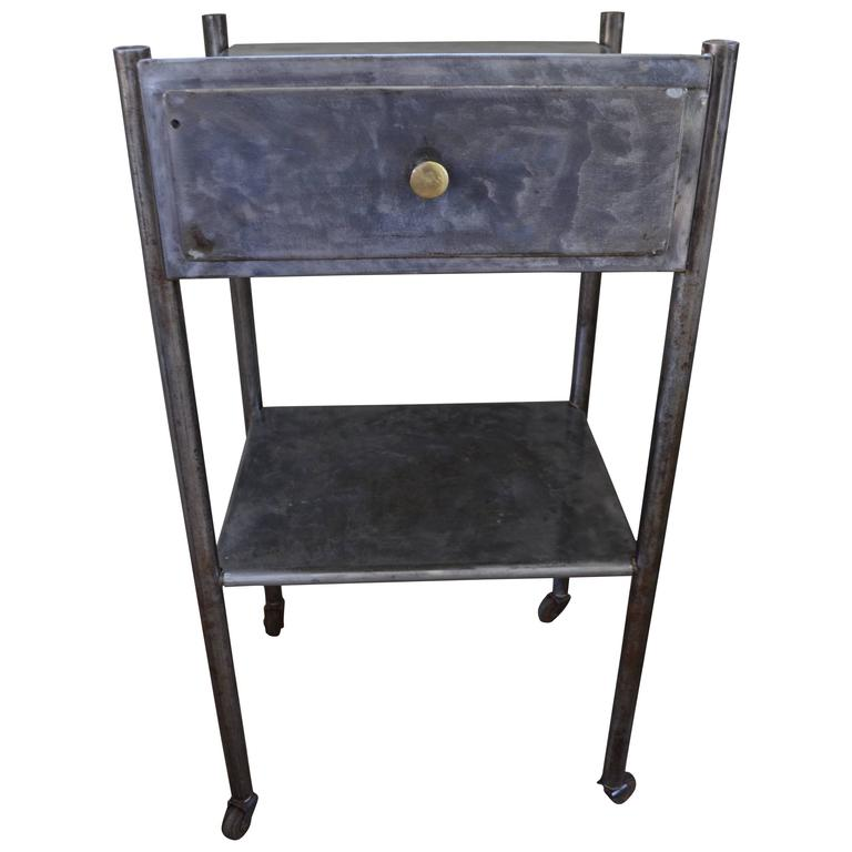 Industrial steel table on wheels for end of sofa bathroom for Sofa table on wheels