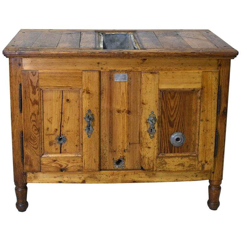 Rustic Pine Kitchen Cabinets: Late 19th Century Rustic European Pine Cabinet Or Ice Box