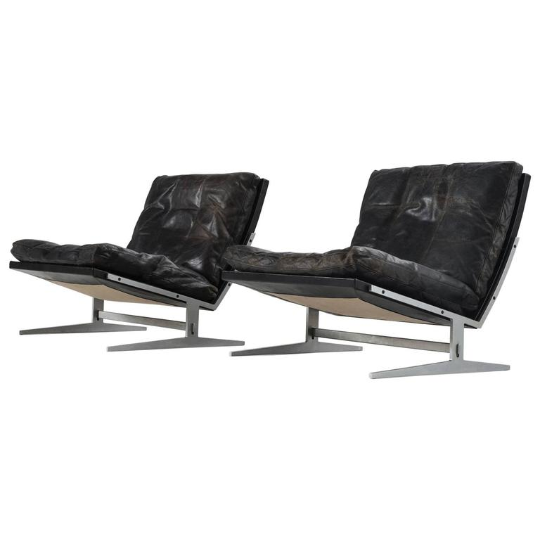 Fine Fabricius Kastholm Pair Of Black Leather Slipper Chairs Ibusinesslaw Wood Chair Design Ideas Ibusinesslaworg