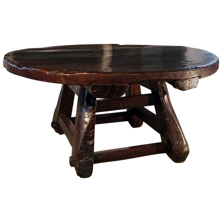 Low Rustic Coffee Table: Asian 19th Century Rustic Low Round Table For Sale At 1stdibs