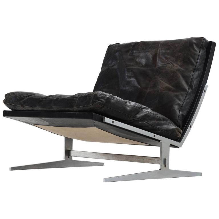 Fabricius Kastholm Black Leather Slipper Chair For