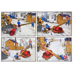 Comic Strip, School Wall Chart, Four Pictures, Quirin Haslinger, 1953