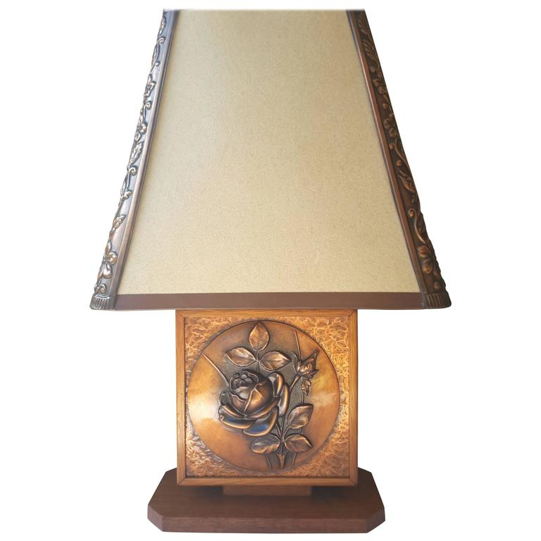 Albert Gilles Mid Century Oak And Copper Rose Table Lamp For Sale