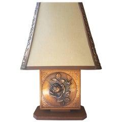 Albert Gilles Mid-Century Oak and Copper Rose Table Lamp