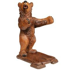 Early 20th Century French Carved Black Forest Bear Gun Rack