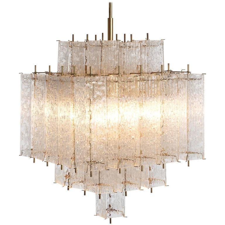 Brass And Structured Glass Chandelier For Sale At 1stdibs