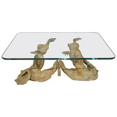 Bronze Tritons Coffee Table with Glass Top