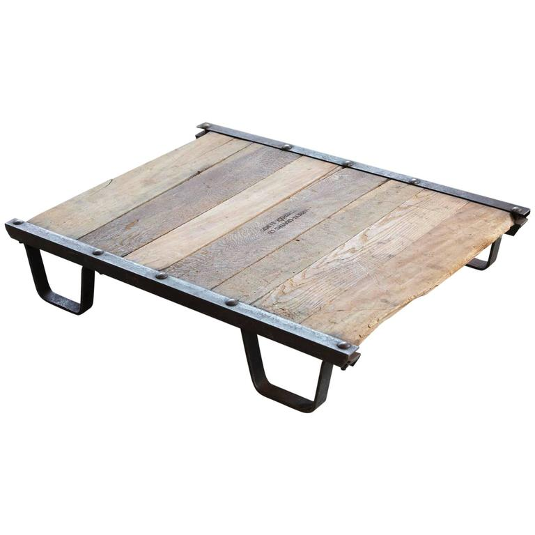 Vintage Industrial Steel and Wood Skid Platform, Low Coffee Table For Sale