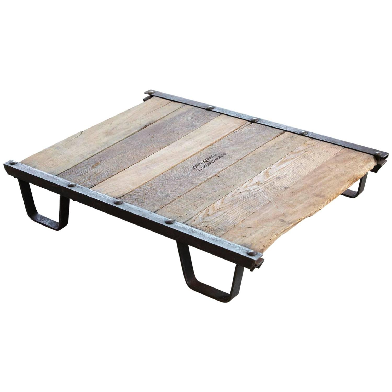 Vintage Industrial Steel And Wood Skid Platform, Low Coffee Table For Sale  At 1stdibs