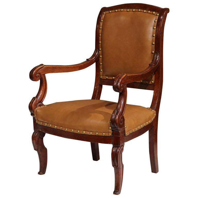 Great 19th Century French Louis Philippe Carved Walnut Child Armchair With  Leather 1