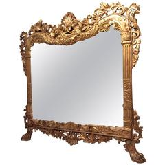 19th Century Giltwood Fireplace Mirror, Italy