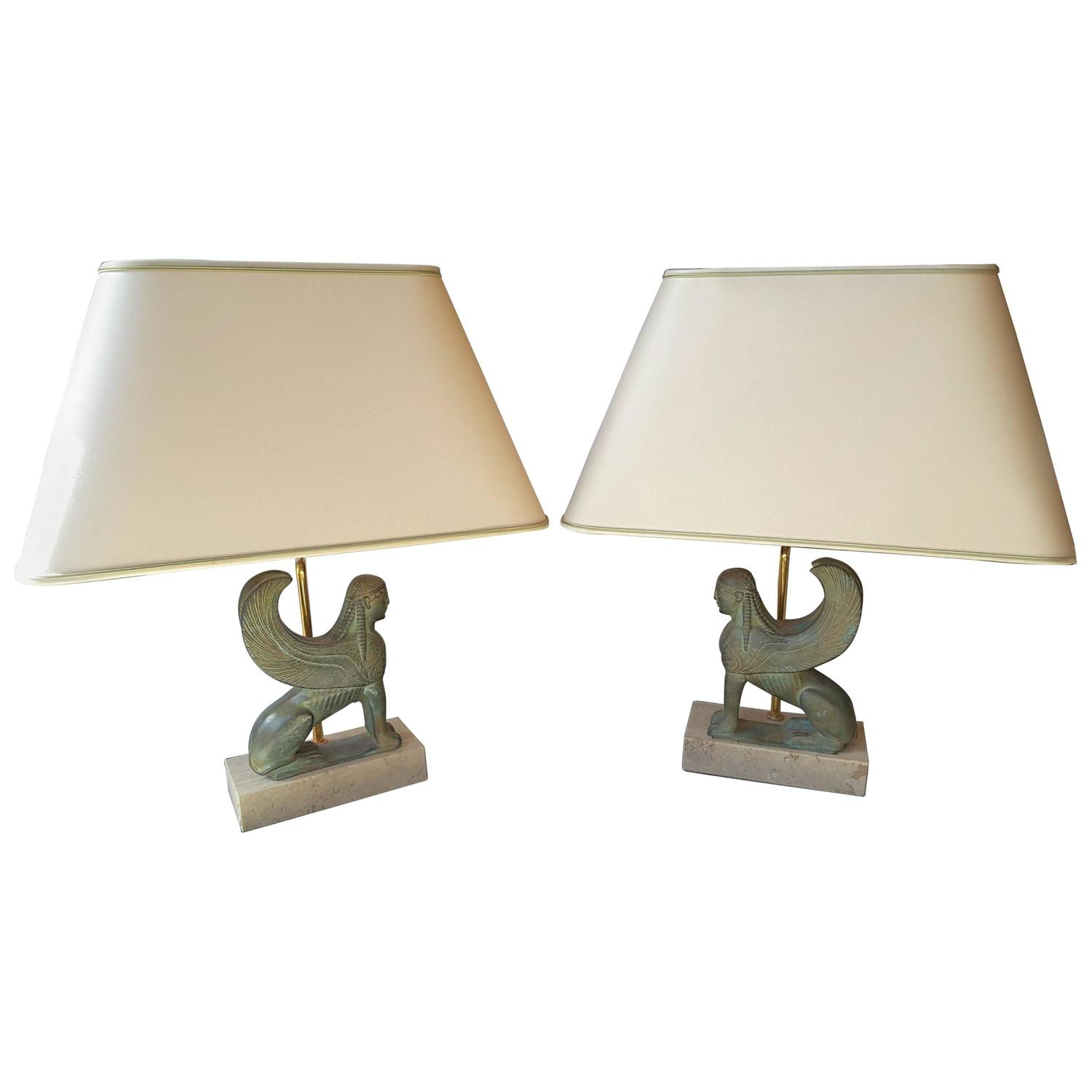 maison le dauphin france vintage pair of exceptional sphinx table lamps for sale at 1stdibs. Black Bedroom Furniture Sets. Home Design Ideas