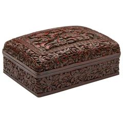 Antique Chinese Qing Cinnabar Lacquered Box, 19th Century