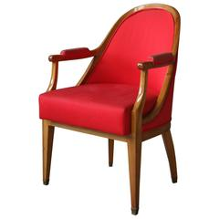 French Art Deco Walnut Armchair