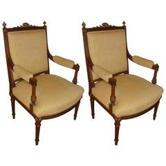Pair Louis XVI Armchairs Manner of Maison Jansen