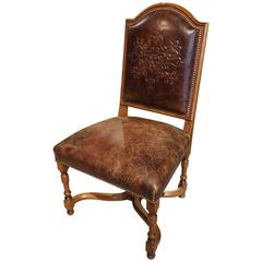 Embossed Leather Walnut Wood Side Chair from France