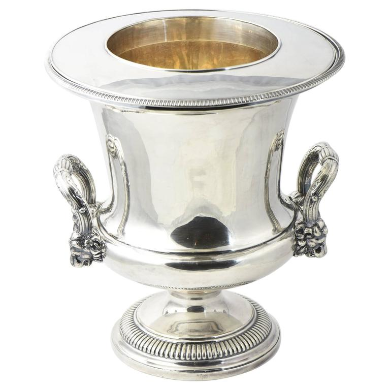 Antique Sheffield Lion Silver Plate Wine Cooler Ice Bucket Or Champagne  Bucket For Sale