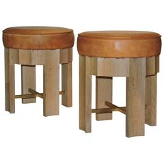 Cerused Oak and Leather Stools in the Style of Jean Michel Frank