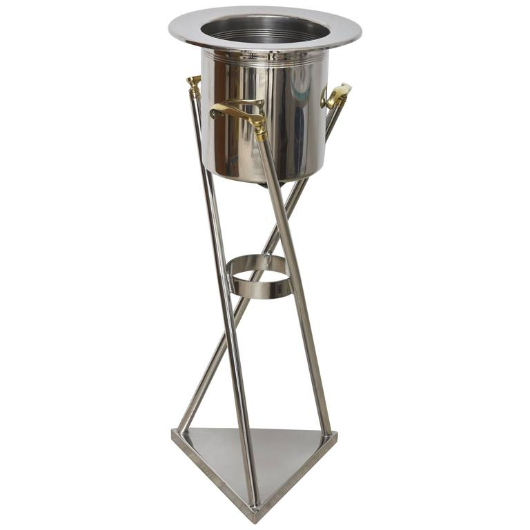 Mid-Century Chrome and Brass Top Hat and Cane Champaign Bucket or Wine Cooler