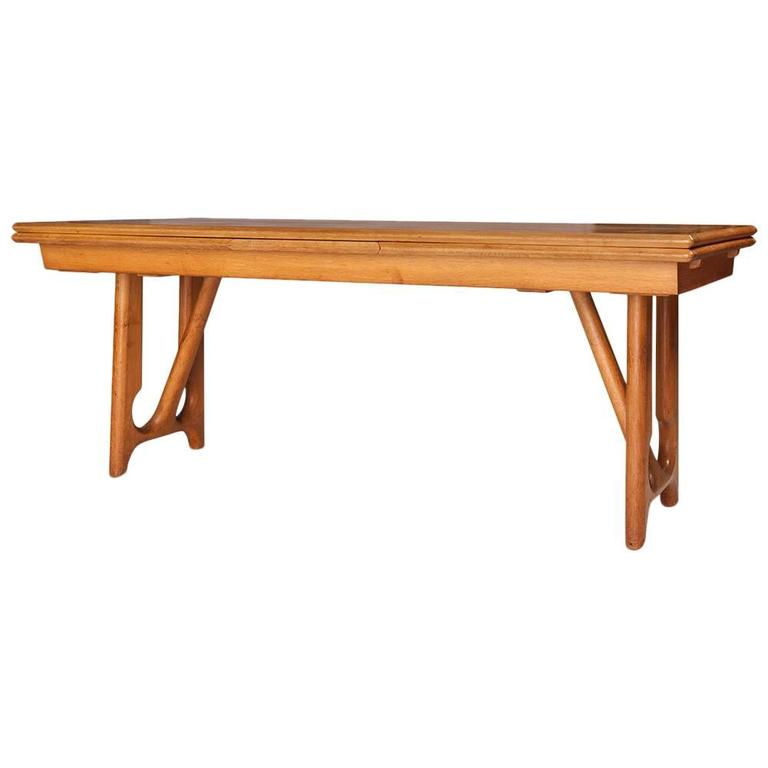 "Guillerme et Chambron Oak Dining Table ""A L'Italienne"", 1965"