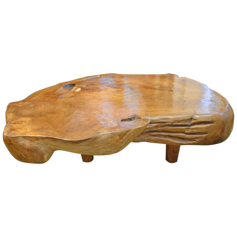 Natural Teak Wood Coffee Table At 1stdibs