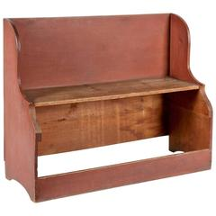 Unusual Deacons Bench/Bucket Bench in Dry Salmon Red Paint