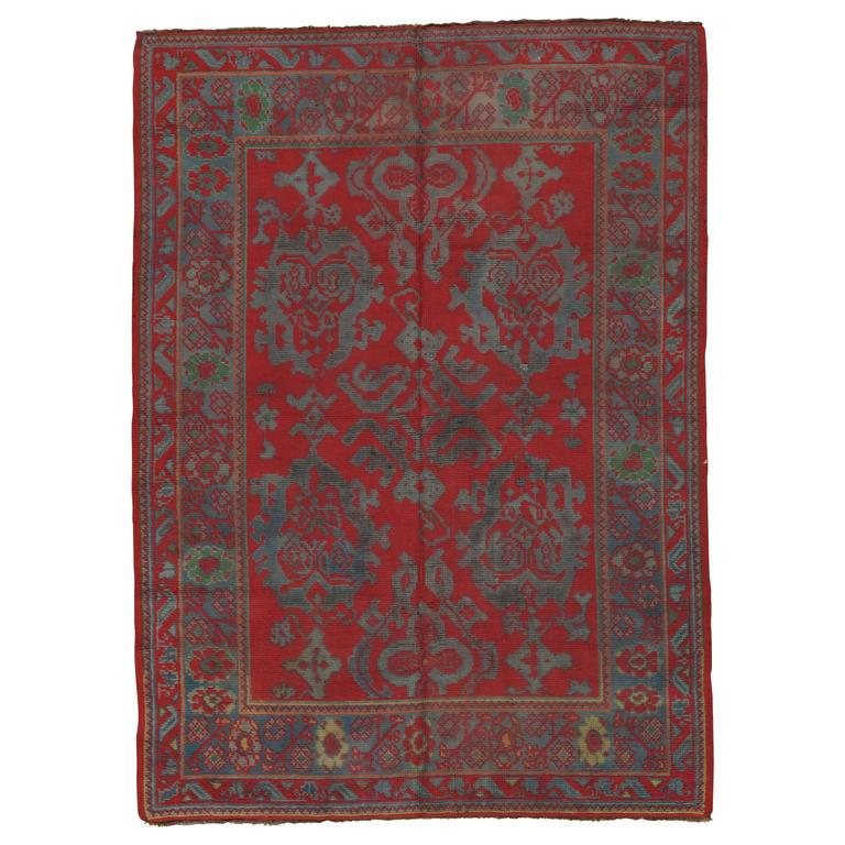 Antique Donegal Rug Irish Rugs Handmade Oriental Red Wool