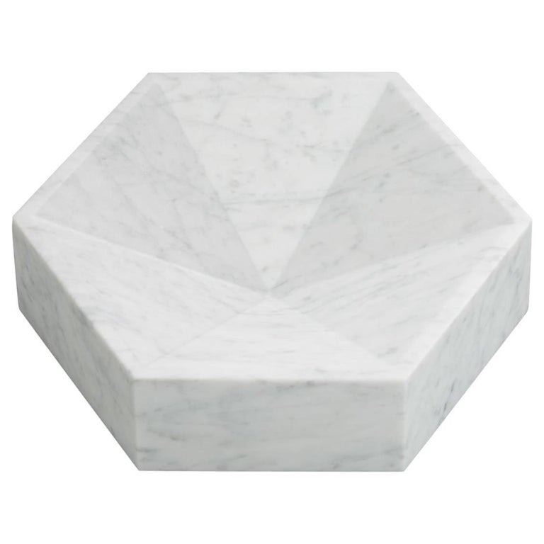 Hexagonal Constellation Bowl, Small Low in Carrara Marble, In Stock For Sale