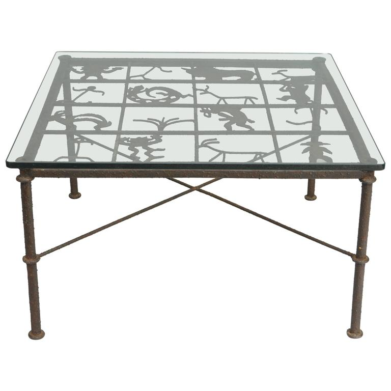 Metal And Glass Square Coffee Table With Native American