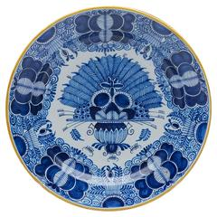 Antique Dutch Delft Peacock Pottery Plate Signed, circa 1750