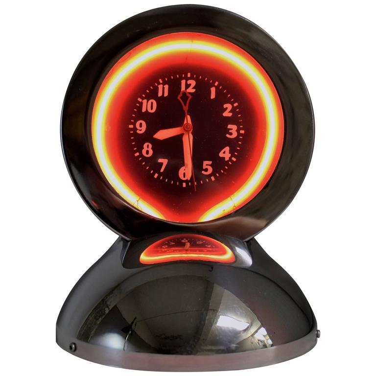 Art Deco Neon and Chrome Table Clock