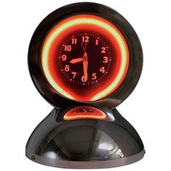 Art Deco Neon and Chrome Table Clock